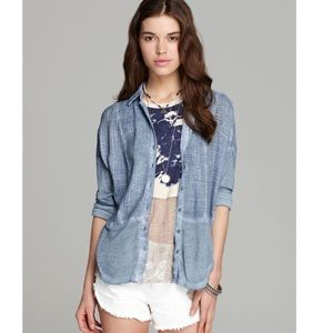 Free People Zahara Button Down Shirt Blue